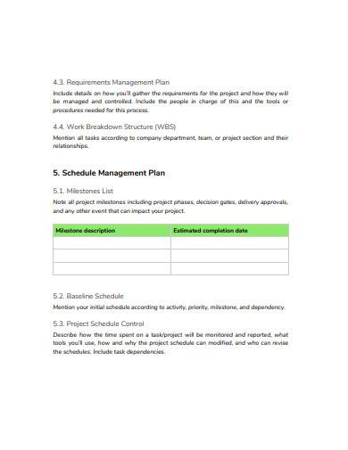 simple schedule management plan in pdf
