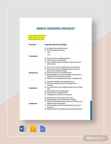 simple wedding checklist template