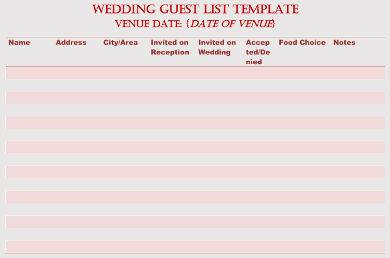 simple wedding guest list sample