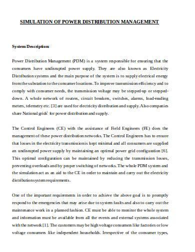 simulation of power distribution management