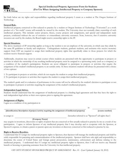 special intellectual property agreement form for students