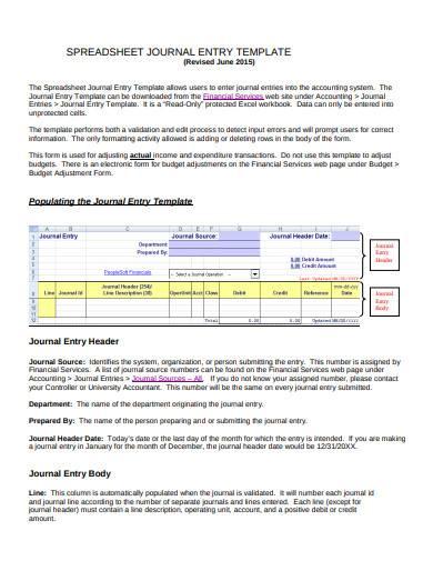 spreadsheet journal entry