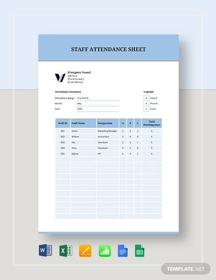 staff attendance sheet template