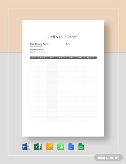 staff sign in sheet template