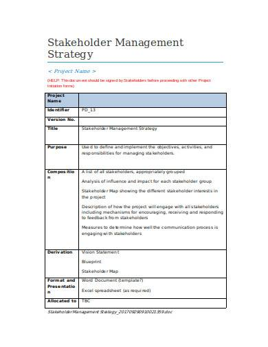 stakeholder management strategy in doc
