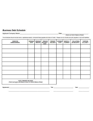 standard business debt schedule