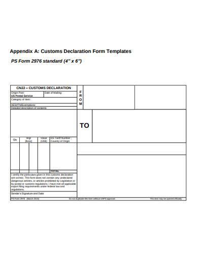 standard customs declaration form template