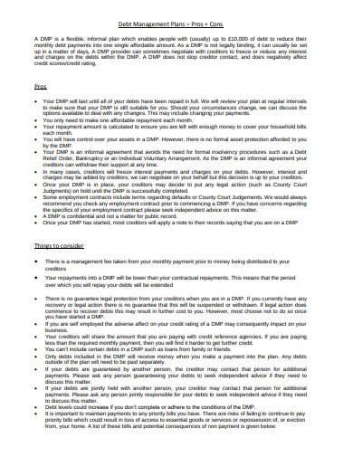standard debt management plan