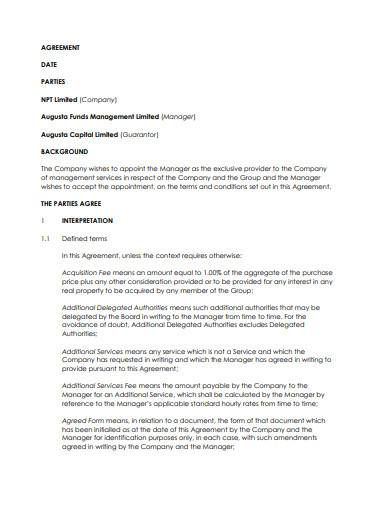standard fund management agreement