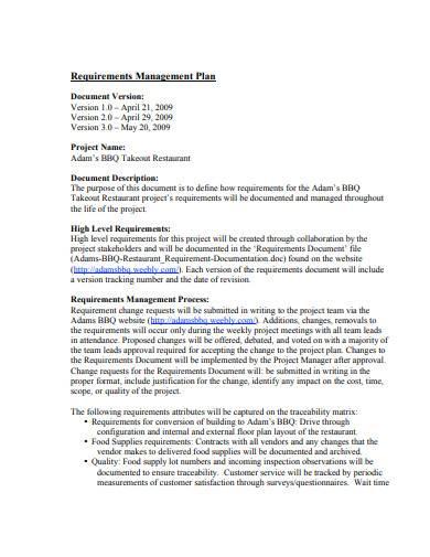 standard requirements management plan