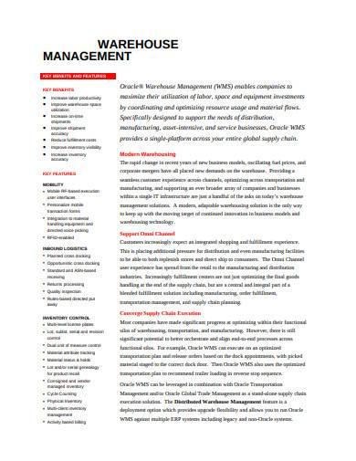 standard warehouse management