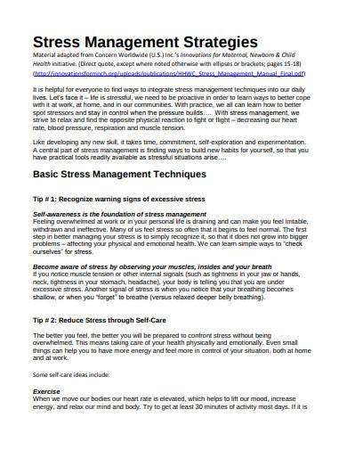 stress management strategies in pdf