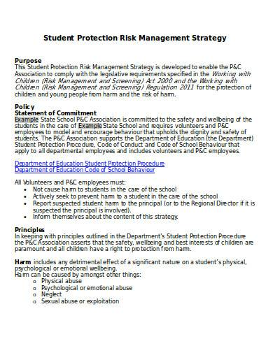 student protection risk management strategy