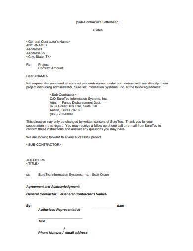 sub contractors letterhead