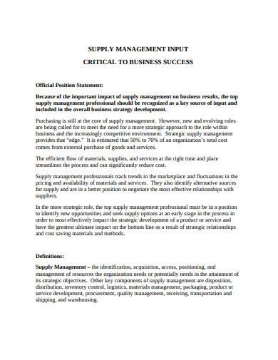 supply management input