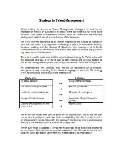 talent management strategy sample