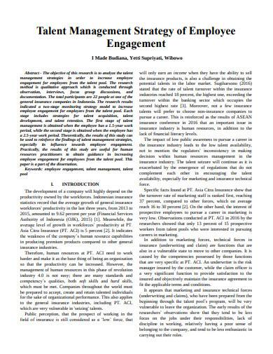 talent management strategy of employee template