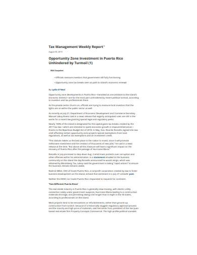tax management weekly report sample