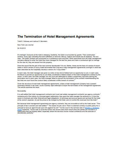 termination of hotel management agreements