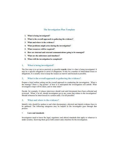the investigation plan sample