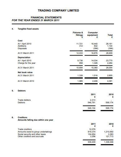 trading company limited financial statement