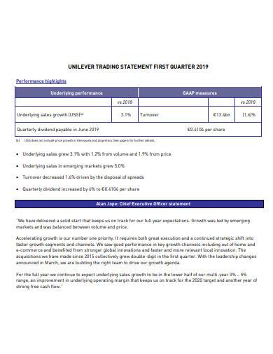 trading statement first quarter