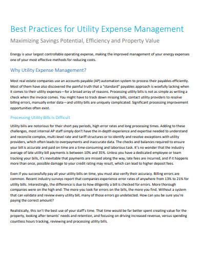 utility expense management example