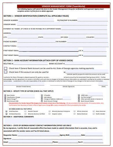 vendor management agreement form