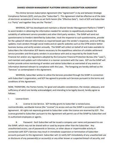 vendor management agreement sample
