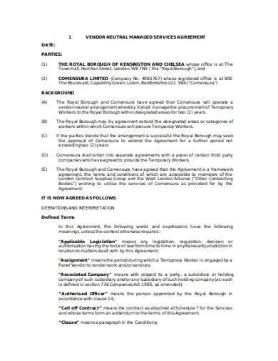 vendor management agreement in doc