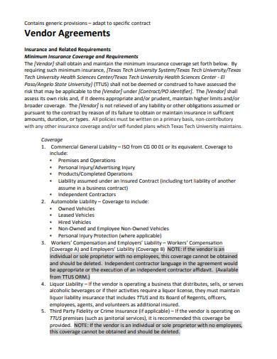 vendor management agreement in pdf