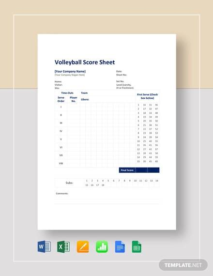 volleyball score sheet template