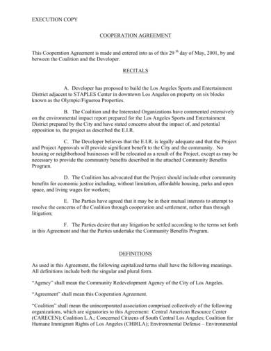 9 Free Sample Cooperation Agreements Pdf Word