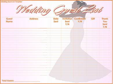 wedding guest list sample with illustration