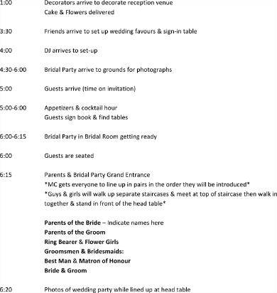 wedding reception party itinerary