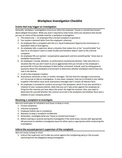 workplace investigation checklist sample