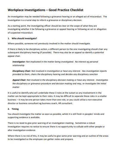 workplace investigation checklist template