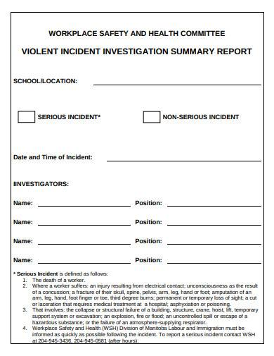 workplace investigation summary report sample