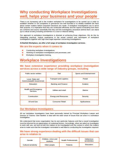 workplace investigation template