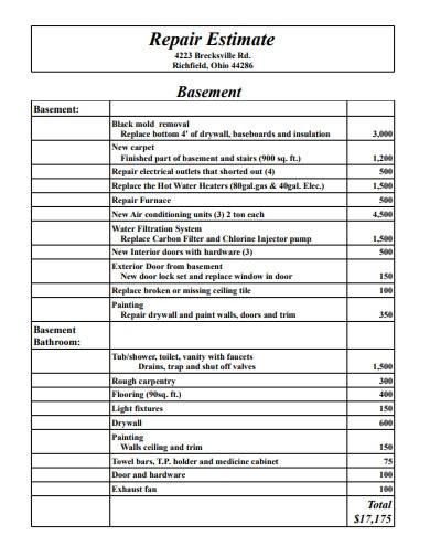 10 page housing repair estimate sample
