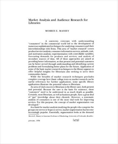 10 page market analysis and audience research