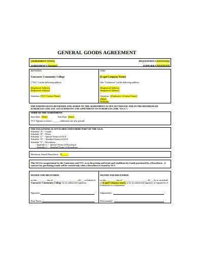 13 page general goods agreement sample