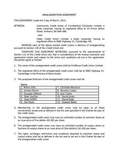 2 page credit union amalgamation agreement in pdf