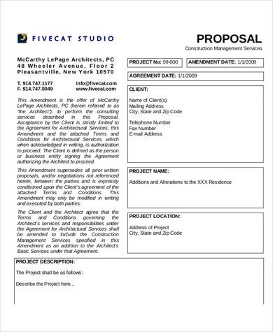 3 page construction management proposal sample
