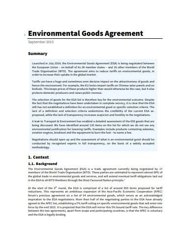 4 page environmental goods agreement sample