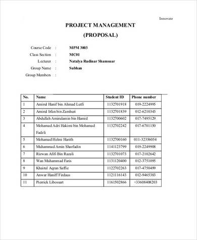 7 page project management proposal sample in pdf