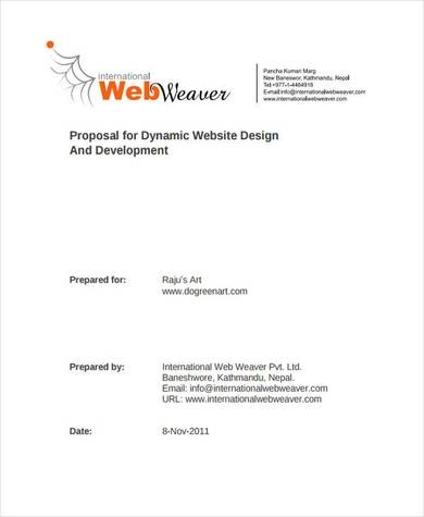 9 page proposal for dynamic website design and development