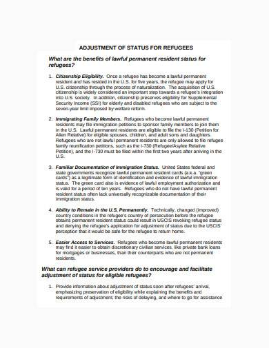 adjustment of status for refugees template