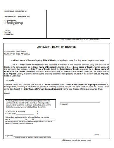affidavit death of trustee example