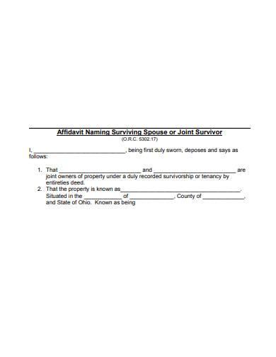 affidavit naming surviving spouse